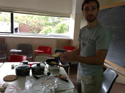 Mesoamerican food and subsistence: a student cooks tortillas